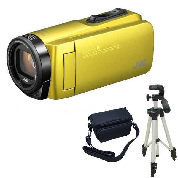 ビデオカメラ JVC GZ-R480-Y シトロンイエロー + KA-1100 三脚 & バッグ 付きおすすめセット 長時間録画 Everio R ( エブリオ ) 防水 旅行 卒業式 入学式 卒園 入園 結婚式 出産 成人式 小型 小さい