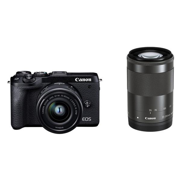 CANON EOS M6 Mark II ブラック ダブルズームキット [ミラーレス一眼カメラ(3250万画素)]