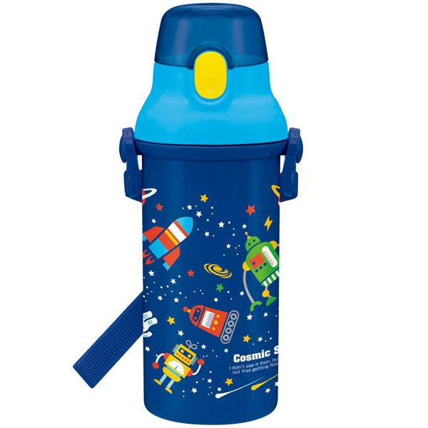 軽量プラスチック製、ワンタッチ式開閉フタで簡単に開けれるお子様向けの水筒 スケーター 子供用 水筒 480ml コスミックスター 日本製 PSB5SAN