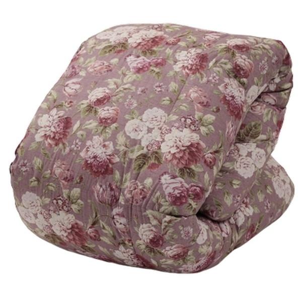 東京西川 フランス産シルバーダックダウン93% 羽毛掛けふとん ダブル 花柄ピンク