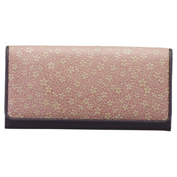 草木染め印伝つた桜柄長財布ピンクDRS2700-16