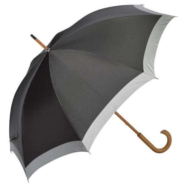 甲州織 木棒手開き長傘 グレー/黒 HMT153EG