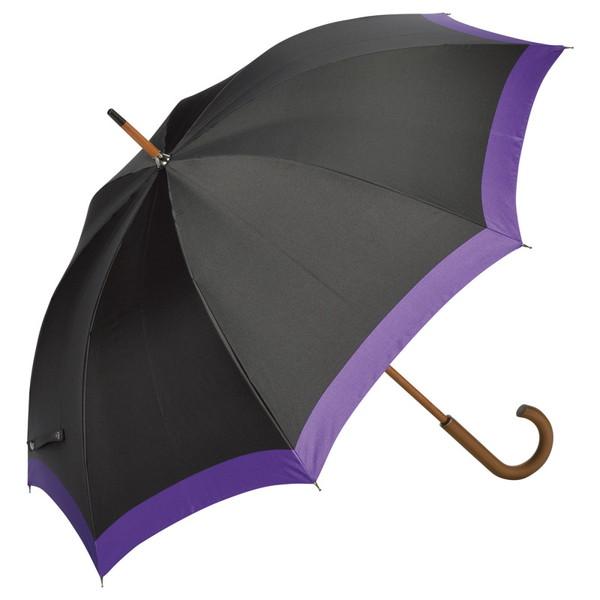 甲州織 木棒手開き長傘 紫/黒 HMT153EP