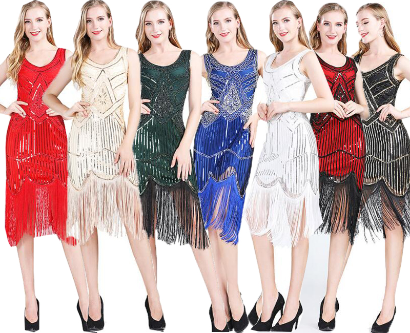 欧米風 細身ドレス スパンコール ダンス衣装 レディース ラテンドレス 社交ダンス衣装 DS ステージ衣装 18%OFF ビーズ付き S-XXL セクシー 9色 パーティードレス フリンジ豊富 舞台演出服 モデル着用 注目アイテム