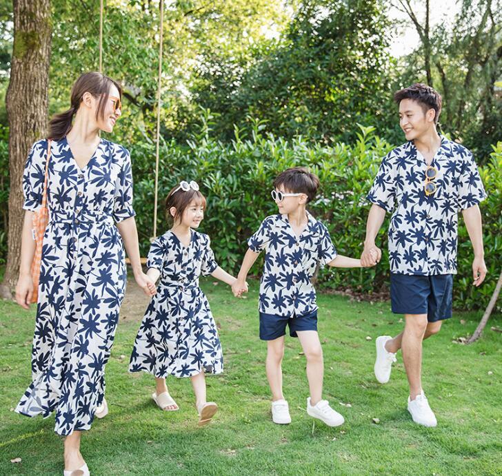 二個送料無料 アロハ ペアルック 親子ペア カップル セットアップ 家族お揃い衣装 上下2点セット Tシャツ+半ズボン/ワンピースシャツ 木の葉花柄 ママ パパ 息子 娘 親子コーデ カップル 海旅行衣装