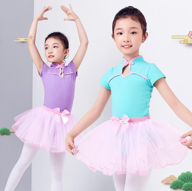 子供バレエレオタード 半袖レオタード チュールスカート付 チュチュ 爆安 中華風バレエダンス衣装 新体操 こども キッズ リボン付き ジュニア ウェア 人気急上昇 ホック付き 子供 バレエダンス