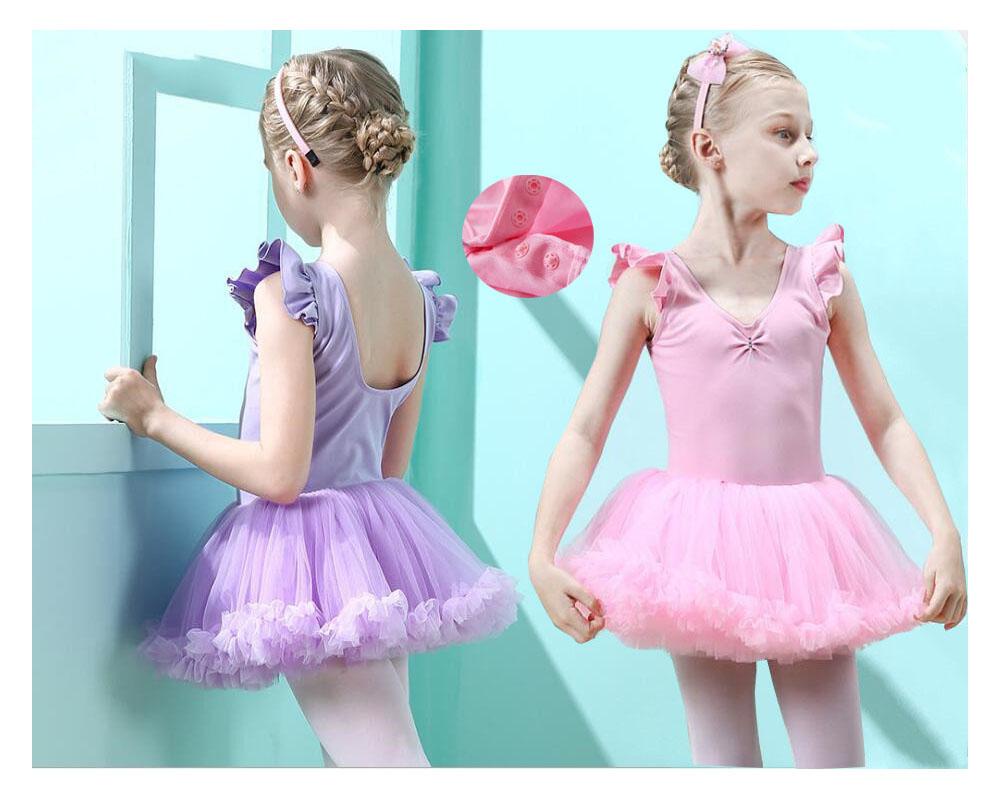 バレエ 即納 ワンピース 子供 レオタード ホック付き ふわふわスカート バレエダンス衣装 新体操 練習着 ピンク 女の子 爆買い送料無料 ストレッチ バレエ衣装 ジュニア パープル
