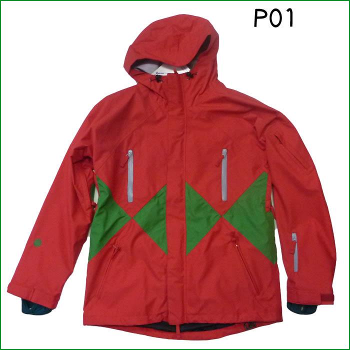 P01 プレイ SNOW ウエア JETTA JACKET Red Green SIZE:L 10-11モデル Play Design スノーボード ウェア 旧品 型落ち スノボー 激安