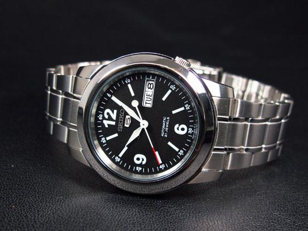 SEIKO 5 セイコー ファイブ 海外モデル 腕時計 自動巻き SNKE63K1 メンズ ブラック×シルバー メタルベルト