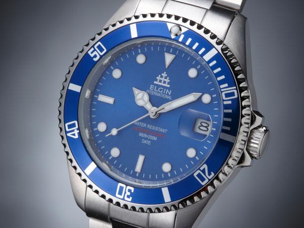 埃尔金埃尔金手表 200 米防水自动潜水员 FK1405S BL 蓝色