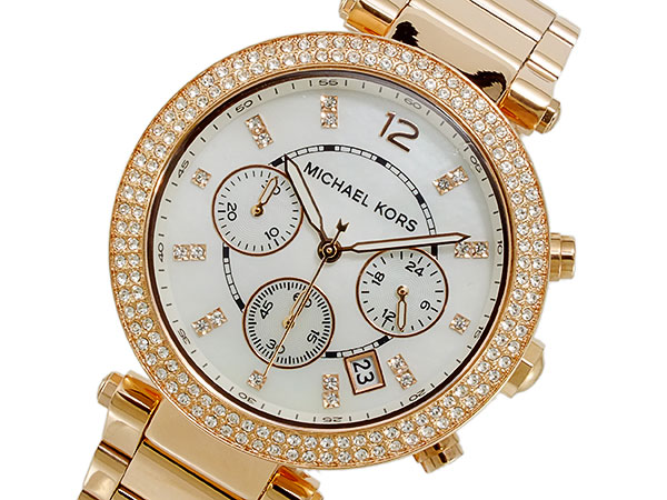 5e178fe4f2a8 Michael Kors MICHAEL KORS chronograph Lady s watch MK5491 white X pink gold  metal belt bracelet