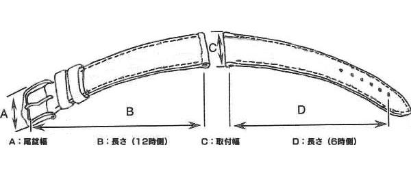 腕時計 替えベルト 型押カーフレディース カーフ 16mm WIC2016BGPG