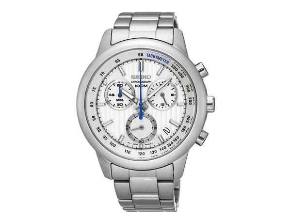 Seiko SEIKO reverse chronograph men's watch SSB203P1 silver metal belt