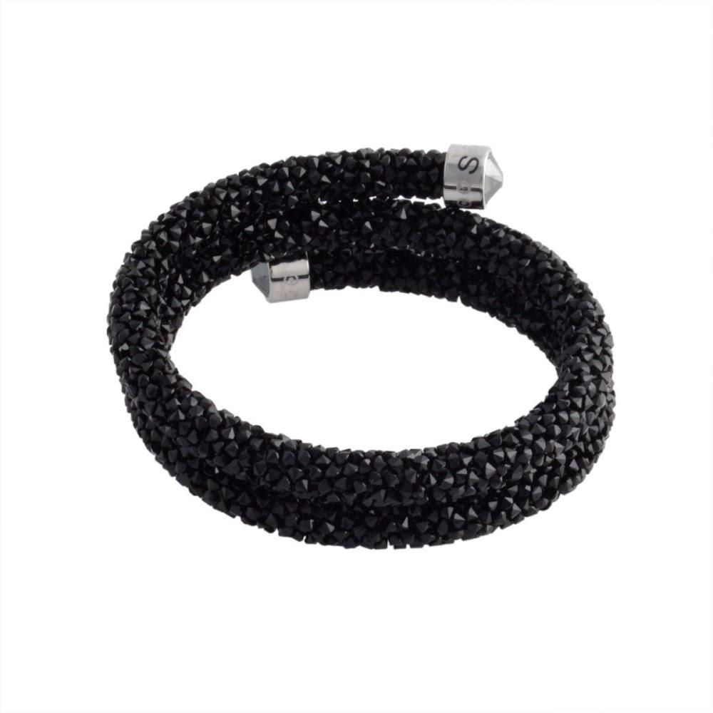 스왈로브스키 SWAROVSKI 5255910 Crystaldust Double Black 크리스탈 락 스파이럴 팔찌 팔찌 S사이즈