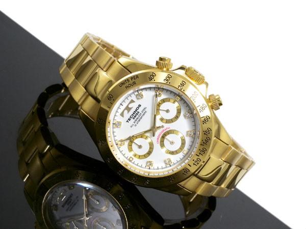Aaa net shop technos technos watches men 39 s tgm639gw chronograph quartz rakuten global market for Technos watches