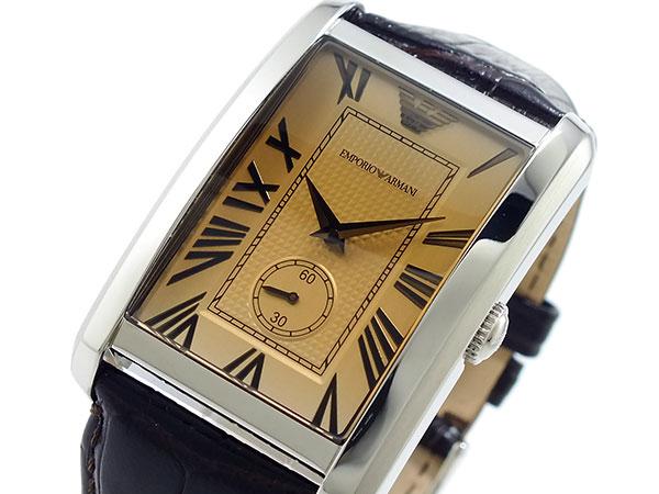 엠포리오 아르마니 EMPORIO ARMANI 쿼 츠 시계 AR1605 남성 실버 × 앰버 브라운 레더 벨트