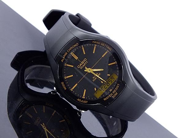 カシオ CASIO スタンダード 逆輸入 アナデジ メンズ 腕時計 AW-90H-9E ブラック×ゴールド ラバーベルト