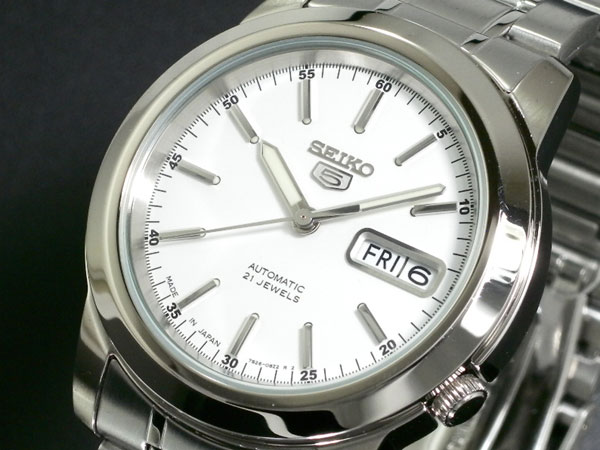 SEIKO 5 セイコー5 逆輸入 日本製 自動巻き メンズ 腕時計 SNKE49J1 ホワイト×シルバー メタルベルト