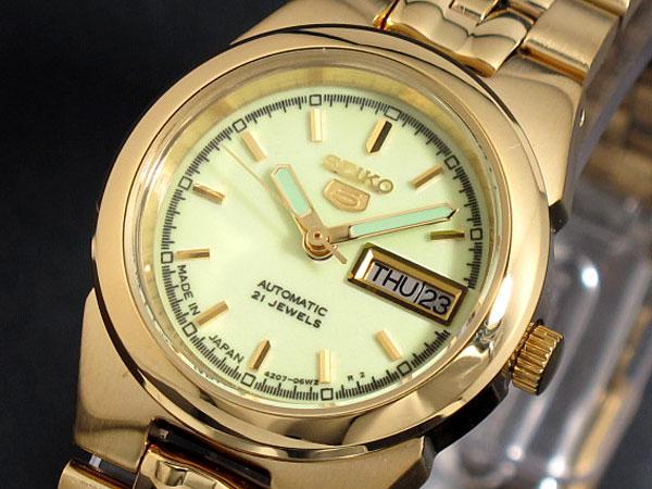 SEIKO 5 セイコー5 逆輸入 日本製 レディース 自動巻き 腕時計 SYMG60J1 蓄光 ゴールド メタルベルト ブレスレット