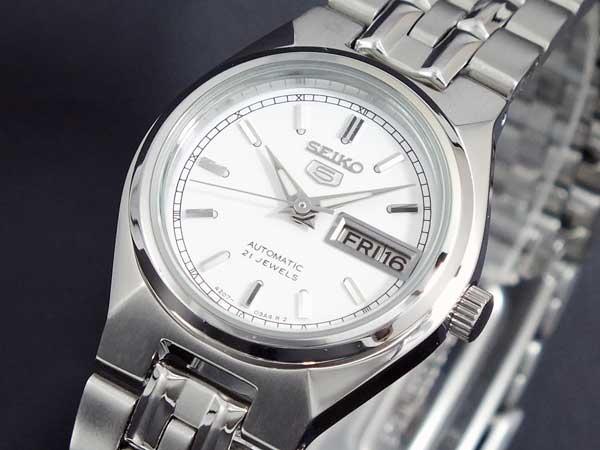セイコー5 SEIKO 5 逆輸入 自動巻き レディース 腕時計 SYM787K1 ホワイト メタルベルト ブレスレット