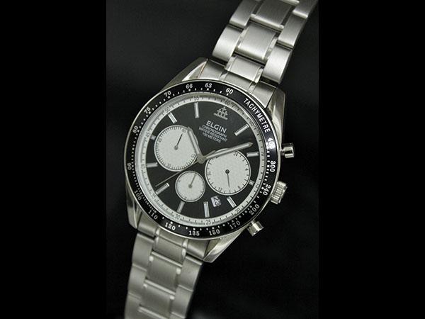 f154da9ad8 エルジン ELGIN 腕時計 クロノグラフ メンズ FK1401S-B 100m防水 ブラック-1