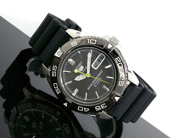 세이 코 5 SEIKO 5 SPORTS 해외 모델 일본은 자동 권 남자 시계 SNZB23J2 블랙 고무 벨트