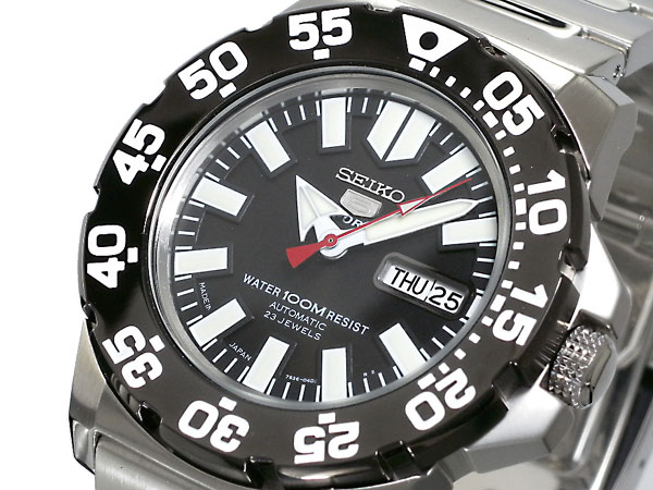 精工5 SEIKO 5 SPORTS返销进口日本制造自动卷人手表SNZF51J1黑色×银子金属皮带