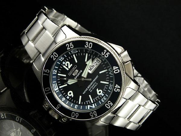 Men watch atlas SKZ209J1 blue X silver metal belt made in SEIKO 5 SPORTS divers self-winding watch Japan