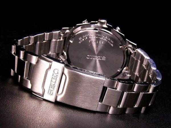 세이 코 SEIKO 해외 모델 크로 노 그래프 남성 시계 SND193 블루 × 실버 메탈 벨트