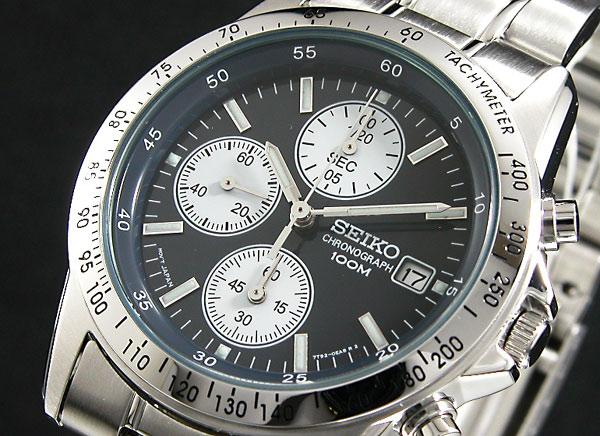 세이 코 SEIKO 역 수입 크로 노 그래프 남성 시계 SND365 네이 비 블루 × 실버 메탈 벨트