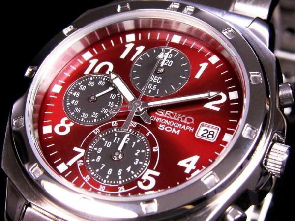 セイコー SEIKO 逆輸入 クロノグラフ メンズ 腕時計 SND495 レッド×シルバー メタルベルト