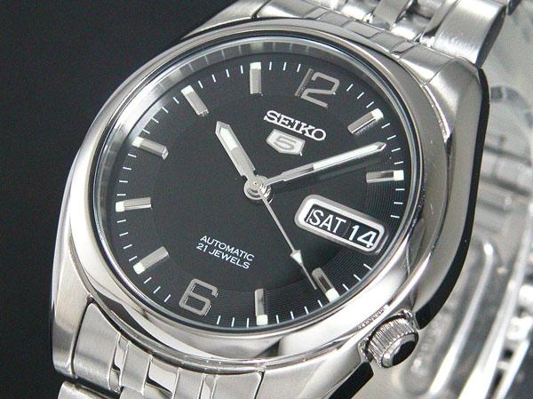SEIKO 5 セイコー5 逆輸入 自動巻き メンズ 腕時計 SNK393K1 ブラック×シルバー メタルベルト
