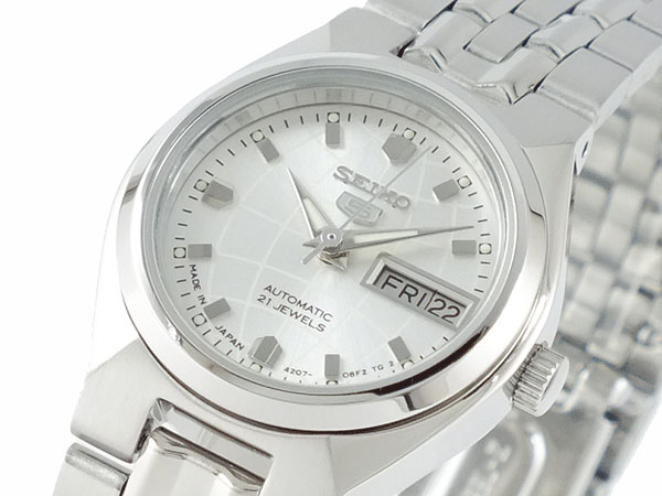 腕時計 セイコー シルバー 日本製 メタルベルト レディース SEIKO 5 ブレスレット SYMK31J1 自動巻き SEIKO セイコー5