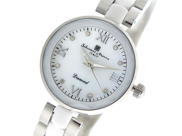 サルバトーレマーラ SALVATORE MARRA クオーツ レディース 腕時計 SM17153-SSWHR ホワイトシェル