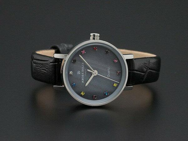 アモーレ ドルチェ レディース 腕時計 AD18301-SSBKBK レザーベルト ブラック