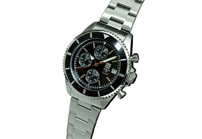 5e8fadcb05 エルジン ELGIN 腕時計 クロノグラフ ダイバース メンズ FK1418S-B ブラック-1