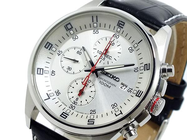 セイコー SEIKO 逆輸入 クロノグラフ メンズ 腕時計 SNDC87P2 シルバーホワイト×ブラック レザーベルト