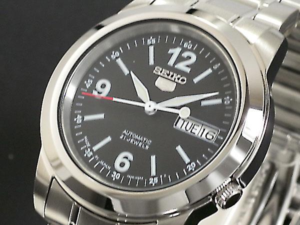 SEIKO 5 セイコー5 逆輸入 日本製 自動巻き メンズ 腕時計 SNKE63J1 ブラック×シルバー メタルベルト