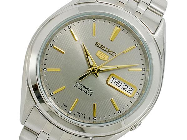 SEIKO 5 セイコー5 逆輸入 自動巻き メンズ 腕時計 SNKL19K1 グレー×シルバー メタルベルト