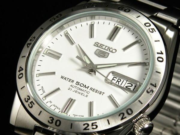 SEIKO 5 세이 코 5 역 수입 일본 스틸 오토매틱 남성용 시계 SNKD97J1 화이트 × 실버 메탈 벨트