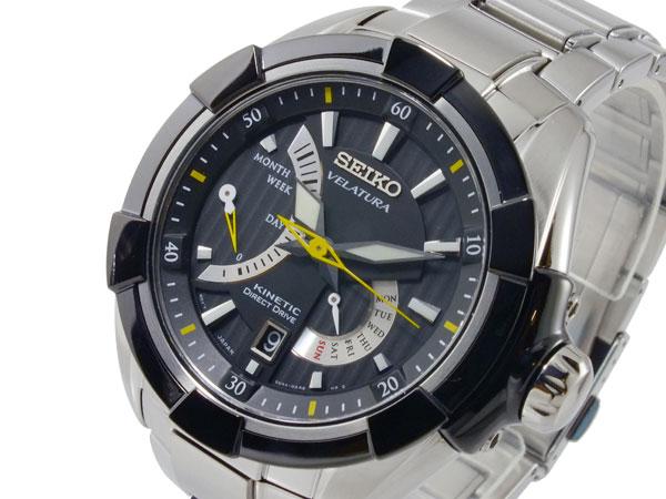 セイコー SEIKO ベラチュラ 逆輸入 キネティック メンズ 腕時計 SRH015P1 ブラック×シルバー メタルベルト