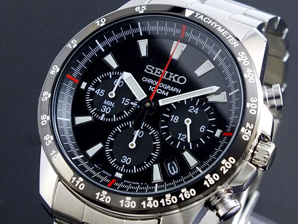 세이 코 SEIKO 역 수입 크로 노 그래프 남성 시계 SSB031P1 블랙/실버 메탈 벨트