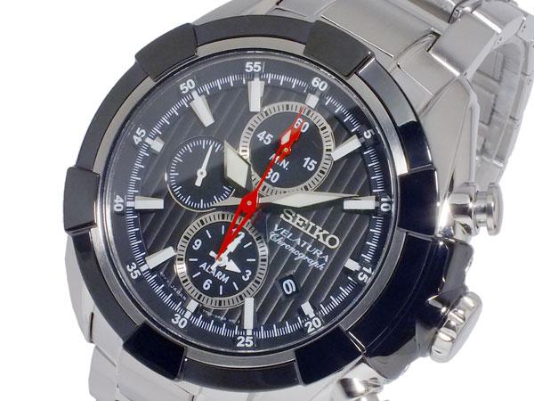 セイコー SEIKO ベラチュラ 逆輸入 クロノグラフ アラーム メンズ 腕時計 SNAF39P1 ブラック×シルバー メタルベルト