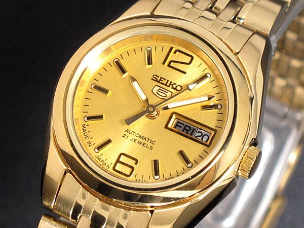 精工精工 5 5 日本作出的国际模型女式自动手表 SYMA60J1 黄金金属带的手镯