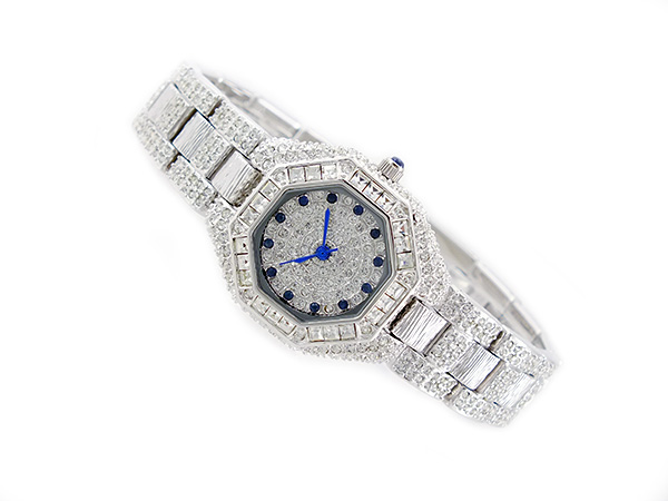 Lira Serre LOUIS LASSERRE natural sapphires quartz ladies watch LL08SV-S Silver x blue metal belt bracelet