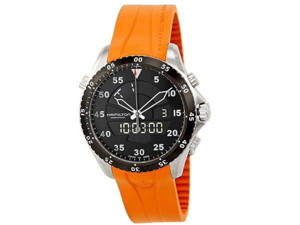 ee186d0aa0f Hamilton HAMILTON khaki flight timer whole men s made in Switzerland watch  H64554431 rubber belt