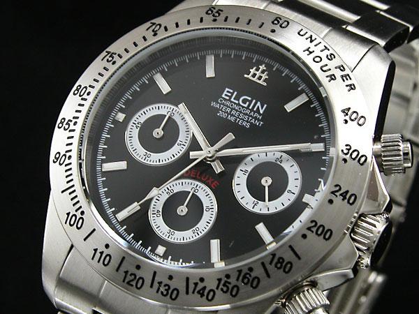 17c5b40f0f エルジン ELGIN ダイバーズ 腕時計 クロノグラフ メンズ FK1059S-B ブラック×シルバー メタルベルト-