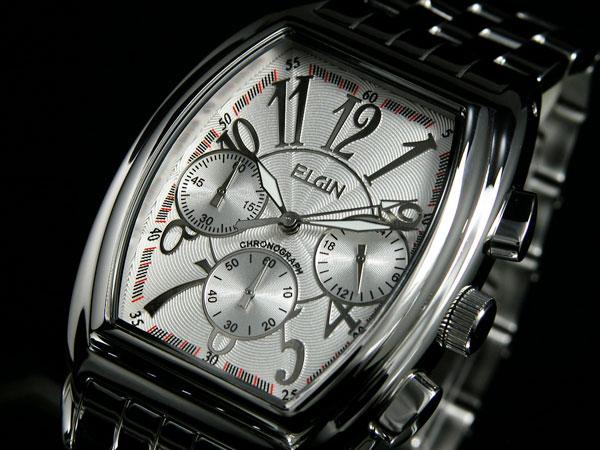 エルジン ELGIN トノー 腕時計 クロノグラフ メンズ FK1215S ホワイト×シルバー メタルベルト