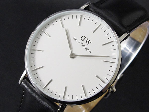 Daniel Wellington Daniel Wellington 40 mm watch 0206 DW Sheffield Sheffield mens silver / black men's