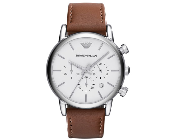 Emporio Armani EMPORIO ARMANI watch AR1846 mens white x brown leather belt